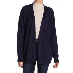 14th & Union Navy Blue Cable Knit Cardigan SZ M